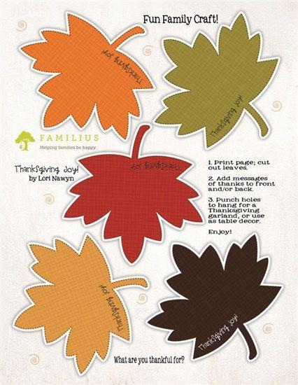 Leaf garland craft - free Thanksgiving printable | The