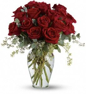 """Whether Your Heart is Heavy with Loss or Longing, Sansone has Something for Everyone. """"Full Heart"""" is a Heartfelt Combination of Roses and Eucalyptus that Makes the Perfect Gift. http://www.sansonefloral.com/st-joseph-flowers/Full-Heart--16-Premium-Red-Roses-372943p.asp?rcid=83&point=1"""