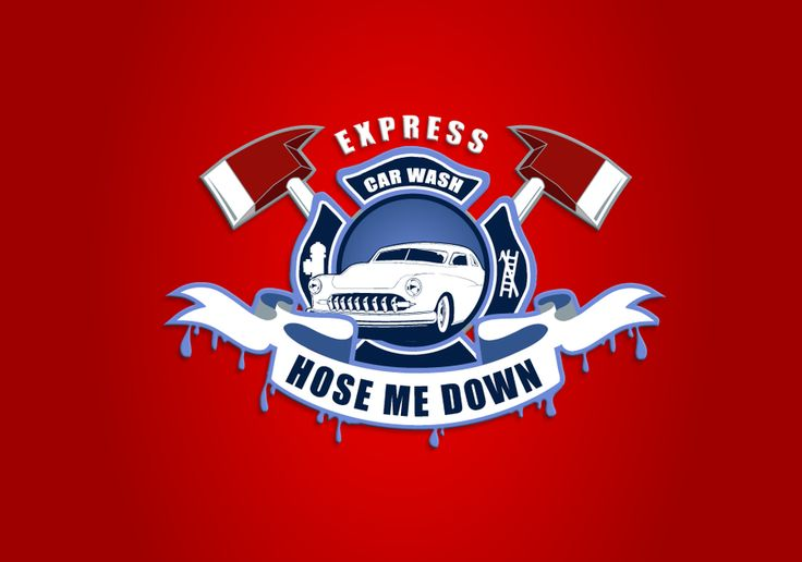 Logo for Hose Me Down (Firefighter themed express car wash) by 99dago