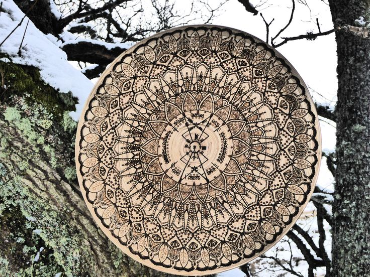 Close up of 'Ogham Shield'...upcycled Ikea bowl via pyrography.