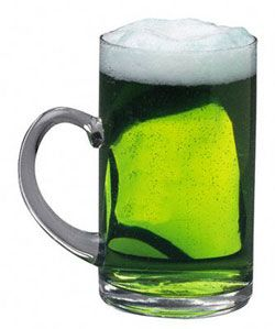 St Pattys Day Beer. just add one drop of blue food coloring to a light colored beer= Green Beer