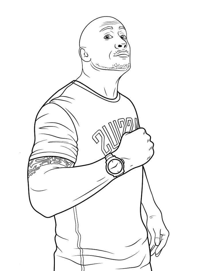 Wwe Dwayne Johnson The Rock Coloring Page In 2020 Wwe Coloring Pages Coloring Pages Sports Coloring Pages