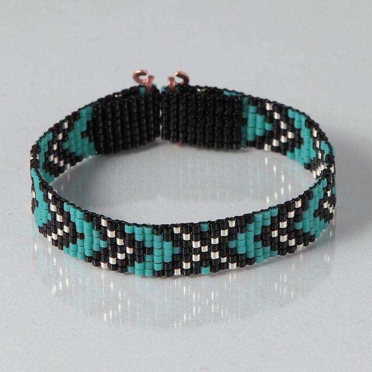 Native American Style Chevron Bead Loom Bracelet - Artisanal Jewelry - Southwestern - Western Jewelry - Beaded Bohemian - Tribal - Turquoise by PuebloAndCo on Etsy