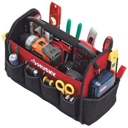 Husky Heavy Duty Portable Tote Box Bag 15 in. Steel Handle Tool Box Storage