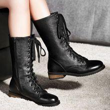 De las nuevas mujeres botas de moda botas artificiales martin botas planas hebilla de la motocicleta del otoño invierno botas de montar tamaño grande 33-43()