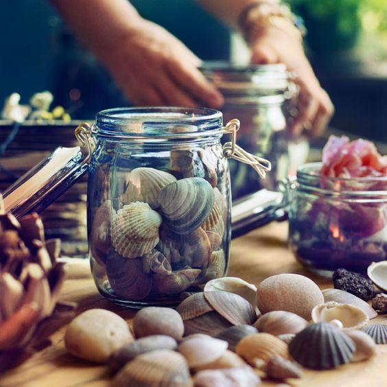 Befőttesüveg+kagyló=menő nyári dekoráció