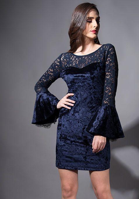 473874daa3d Navy Velvet Bell Sleeve Bodycon Dress  Fashion  FabAlley  PartyWear   BodyconDress  Bodycon  Dress  Party  GoingOutAttire  GoingOutDresses
