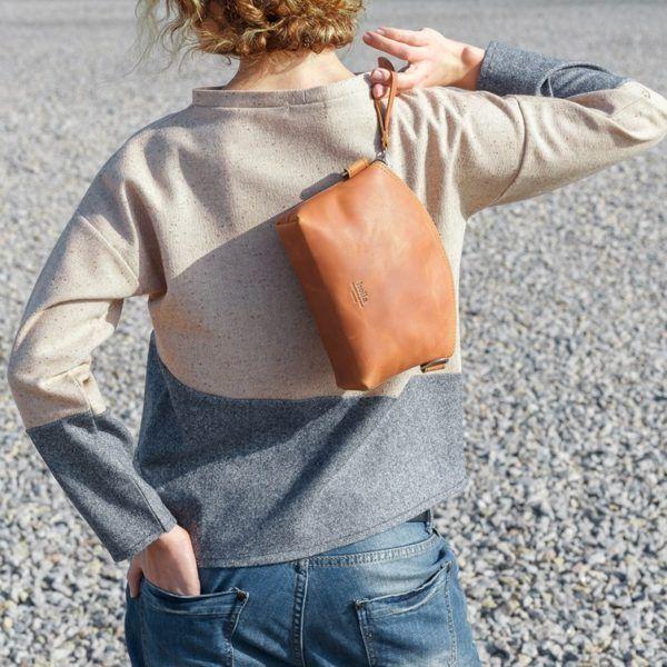 Kožená dámská kabelka - světle hnědá