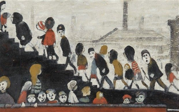 A forgotten painting of L S Lowry, depicting kids going to school.