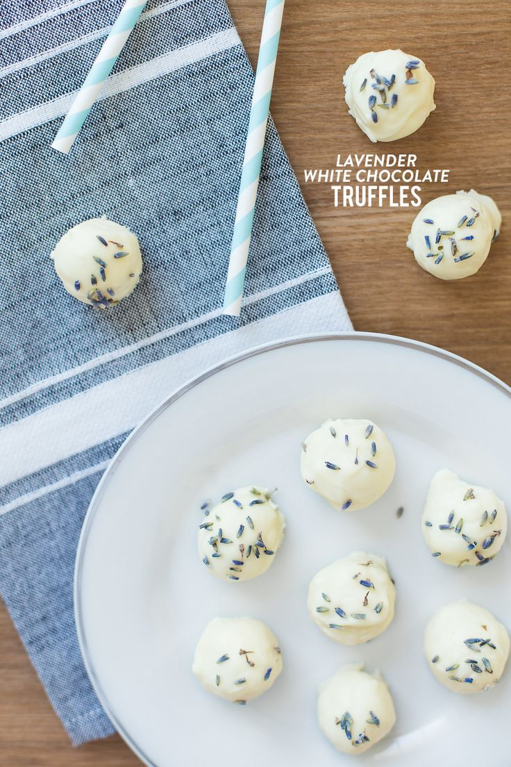 Lavender White Chocolate Truffles http://www.stylemepretty.com/living/2015/01/07/white-chocolate-lavender-truffles/
