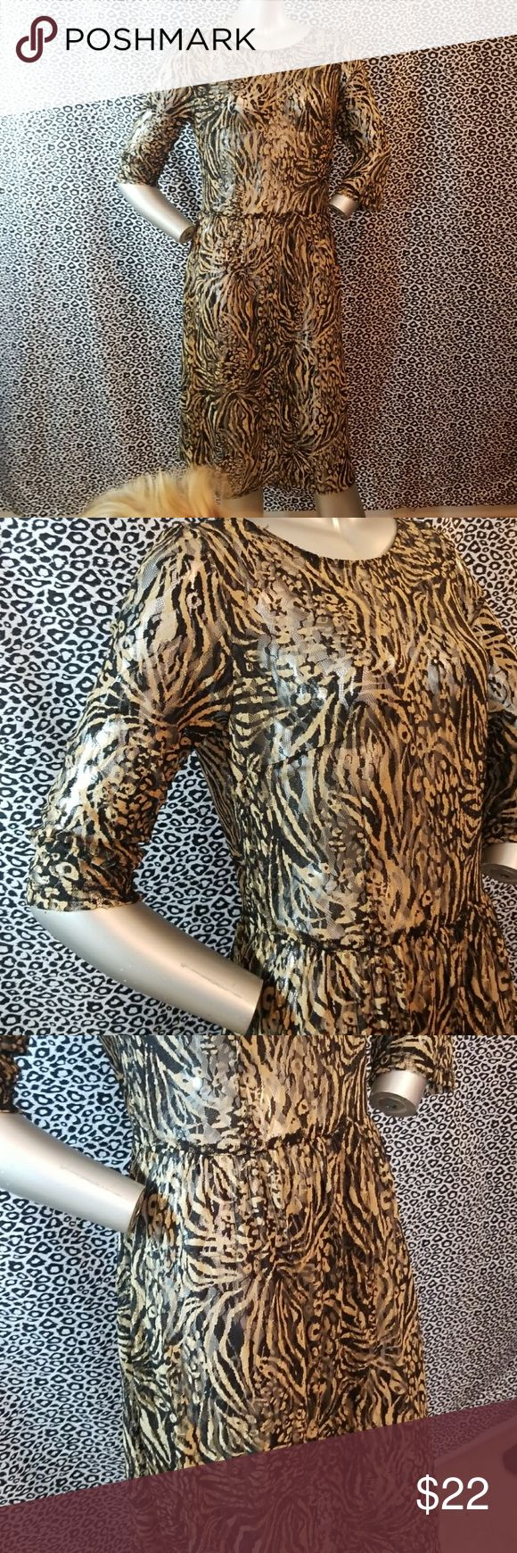 """💚50% OFF💚Leopard Lace See thru Dress 💚50% OFF BUNDLES of 4+ THIS WEEKEND ONLY! No tags. Measures: pit to pit-19.5"""" waist 17.5 length- 41.5"""" Dresses"""