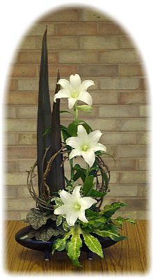 Simple and Elegant Madonna Lilies Flower Arrangement for Easter. From a designer in the U.K.