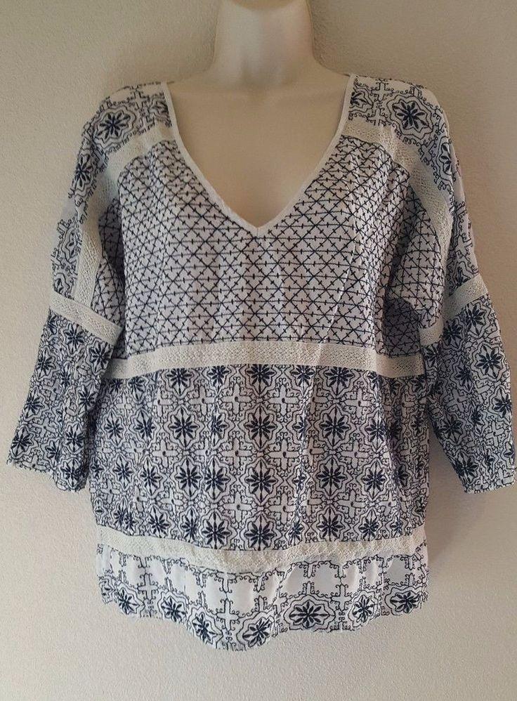 Velvet By Graham & Spencer Woman's V-Neck Boho Embroidered Peasant Blouse Size L #VelvetByGrahamAndSpencer #KnitTop