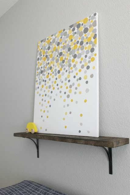 DIY Gallery Art. Love this idea! No brushes necessary. The author used her finger to paint the circles. Clever, easy, cheap, and fabulous: My kind of art!   @Julie this would look amazing in your laundry room or bathroom =)