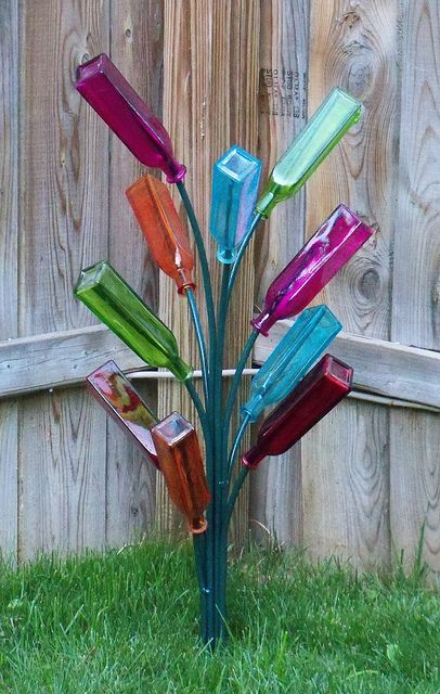 Pretty Colors, And A Different Take On Bottle Tree. I Need A Bottle Tree  For The Fairy Garden This Spring