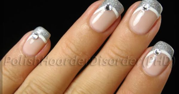 I sort of like this variation on the french tip manicure: Silver Swoop Manicure with Rhinestones | Uñas | Pinterest | French Tips, Manicures and French