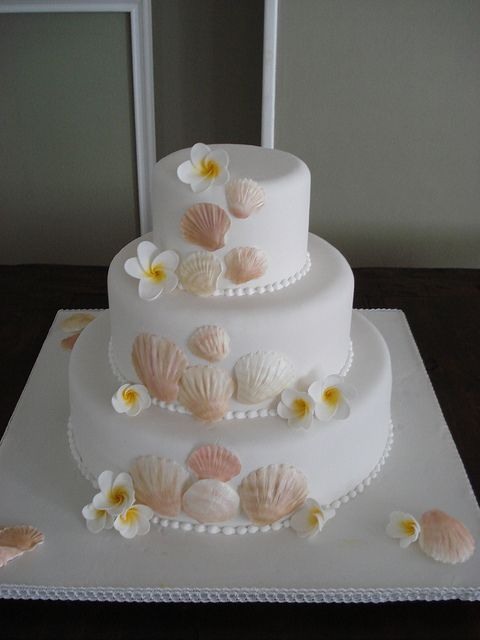 Beach themed wedding cake. If you want the best officiant for your Outer Banks, NC, ceremony, contact Rev. Barbara Mulford: myobxofficiant.com/