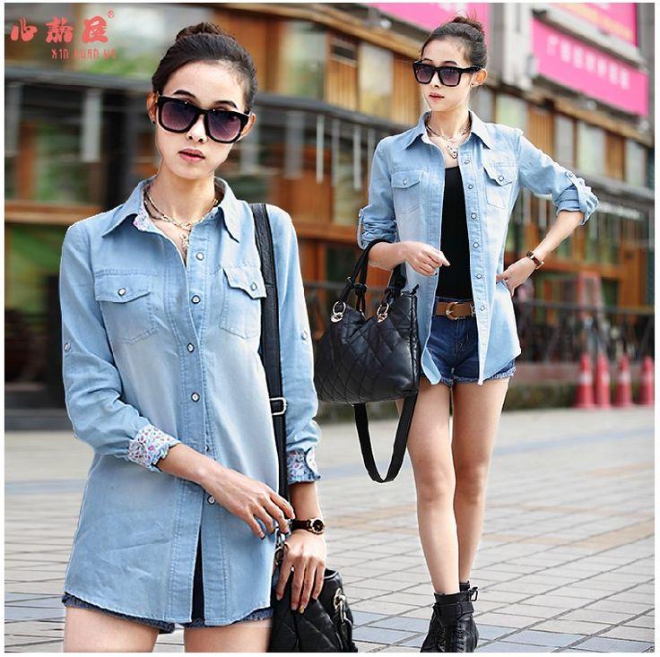 Женская повседневная хлопковая блузка больших размеров, джинсовые рубашки с длинным рукавом, джинсовые рубашки средней длины, женская верхняя одежда, коллекция 2014
