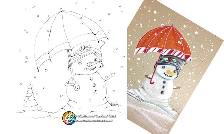 printable coloring page - melting snowman by creationsCeeCee on Etsy