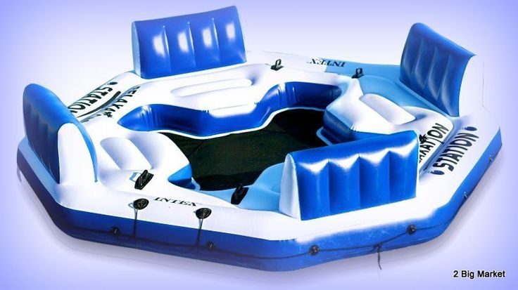 Huge Inflatable Floating Island 4 Person Raft Float For Lake Pool Tropical Sea