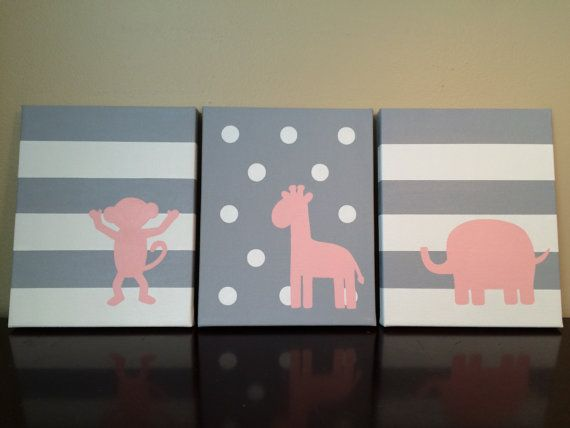 Monkey Giraffe Elephant Nursery canvas by LittleWhispersOfHope