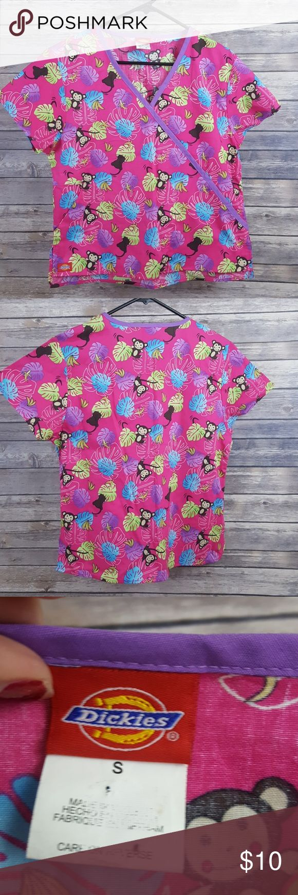 Dickies medical scrubs top with monkies Dickies medical scrub top with monkeys and bananas on them like new condition size small Dickies Tops