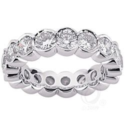 Half Bezel Set Round Stone Anniversary Band, Starting at $1779
