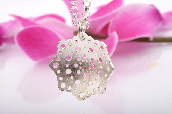 Doily Silver Pendant with Chain. Doily Bridal Necklace. Lace Pendant.