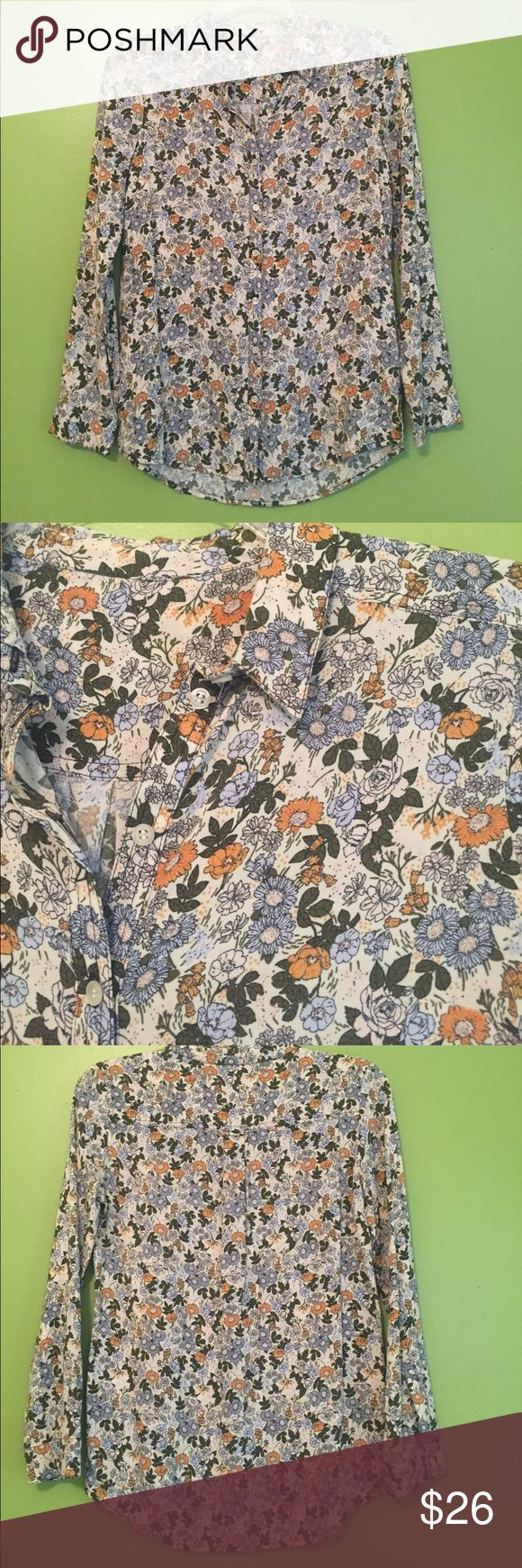 Flowered Henley shirt Bought at Anthropologie sample sale but it has no tags. Beautiful fabric great for a Saturday around town. Wonderful condition. Anthropologie Tops Blouses