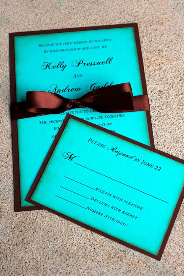 Chocolate Brown and Blue Wedding Invitation, Tiffany Blue and Brown Wedding, Rustic Wedding Invitation, Aqua and Brown Wedding Invitation