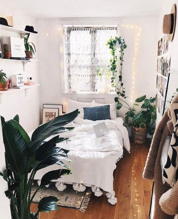 Find Out 5 Efficient Tips How To Decorate Green Plants For Small Bedroom Boho Bedroom Design Small Bedroom Decor Small Room Diy