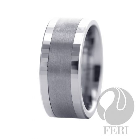 FERI Tungsten - Ring - Tungsten ring - Shell inlayed - Engraved with the FERI logo - Dimension: 9mm (Width)  FERI Tungsten, Plangsten and Hi-Tech Ceramic collections are unique with deep luster from within. The flawless features and indestructible nature of FERI Tungsten, Plangsten and Hi-Tech Ceramic pieces will create an everlasting beauty and confidence.  www.gwtcorp.com/ghem or email fashionforghem.com for big discount