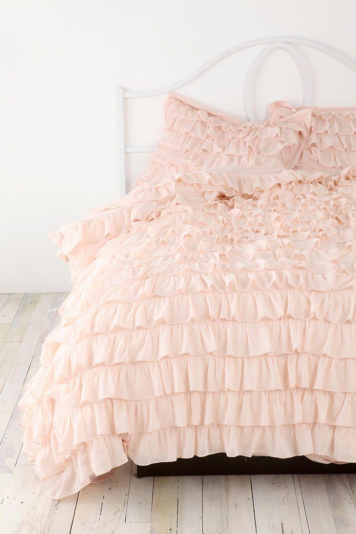 Twin white ruffle bedding - Plum Bow Waterfall Ruffle Sham Set Ruffle Duvetruffleswhite