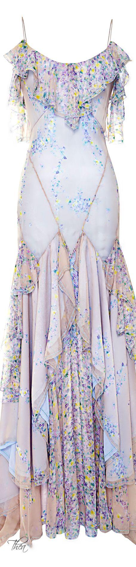 ~Zac Posen Wisteria Print Chiffon Gown | House of Beccaria