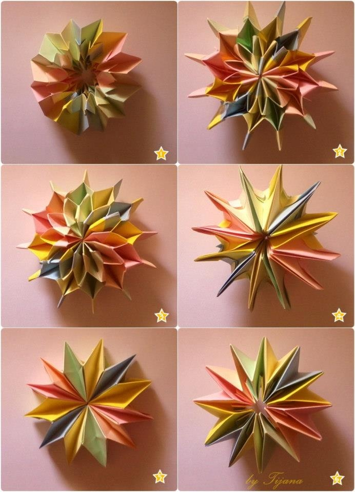 how to make a paper firework step by step