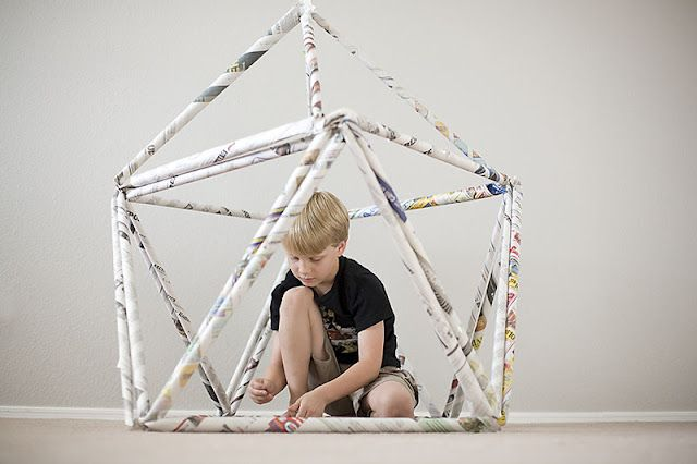 DIY Newspaper Fort....a great activity for kids on a rainy day or hot summer afternoon!