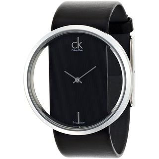 Calvin Klein Women's 'Glam K9423107' Black Leather White Dial Swiss Quartz Watch - I may never be able to get this watch, but it is most definitely on my wishlist.