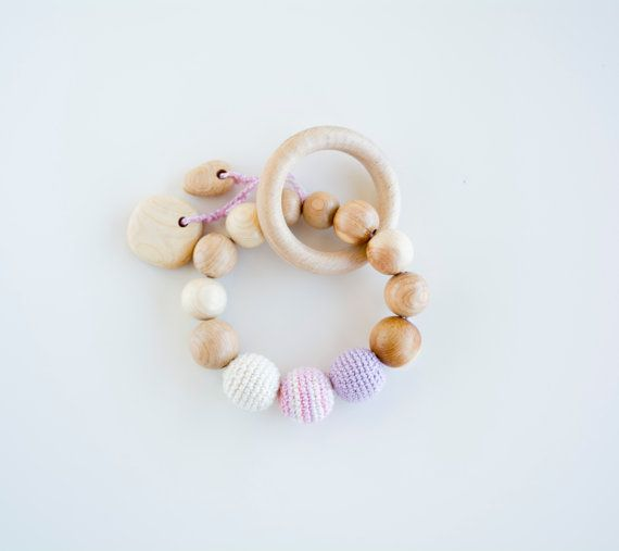 Wooden teething ring with crochet beads and natural by MyFirstToy