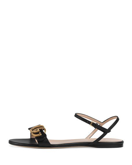 4e331b689174 Gucci Marmont Flat Double-G Leather Sandals