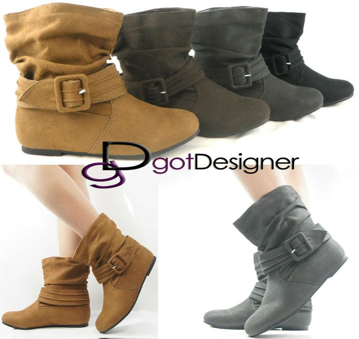 Has a pair of these in the 80's. Loved them.  NEW Womens Shoes Ankle Boots Slouch Comfort Casual Flat Strap Buckle Round Toe #RoseGirl #FashionAnkle
