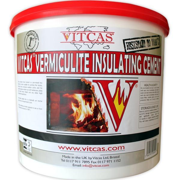 VITCAS Vermiculite Insulating CementVermiculite Insulating Cement. It is especially useful for filling the space between firebacks and fireplaces or behind Victorian Type cast-iron fireplaces. It can also be used underneath and over the top of outdoor pizza ovens and bread ovens.