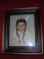This is a mid-century print of a young Native American child by Dorothy Oxborough. Oxborough began painting First Nations' Children of Canad...