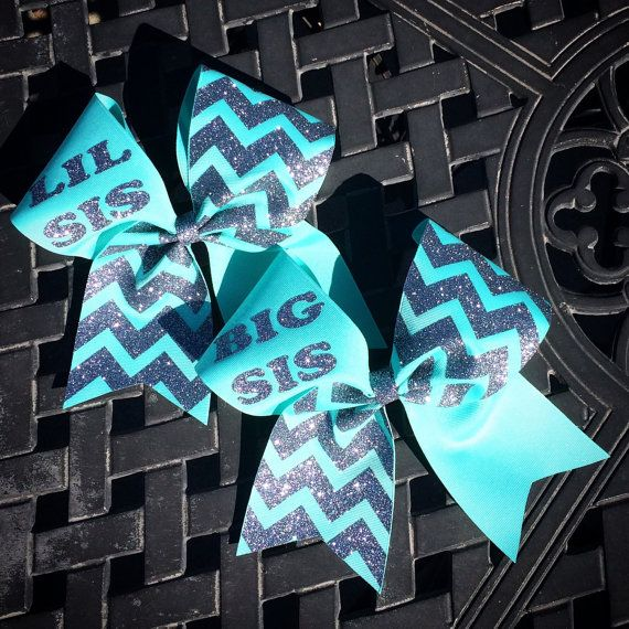 3 inch big sis lil sis cheerleader cheer bow glitter by 2girls2Tus