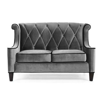 Armen Living Barrister Gray Velvet Loveseat