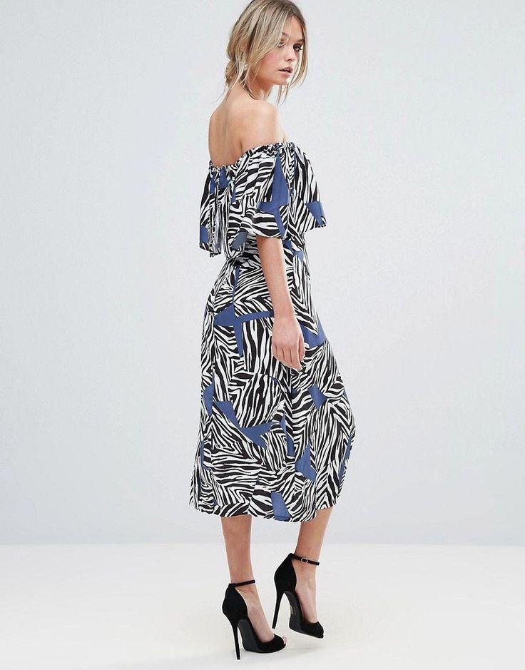 Every Cloud Mutli Zebra Bardot Midi Dress - Multi