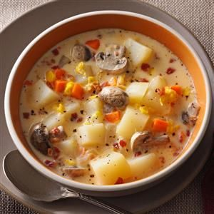 Veggie Chowder Recipe -Packed with potatoes, carrots and corn, this soup is a great healthy dinner choice. It's not too heavy, so it also makes a nice light partner for a sandwich. —Vicki Kerr, Portland, Maine