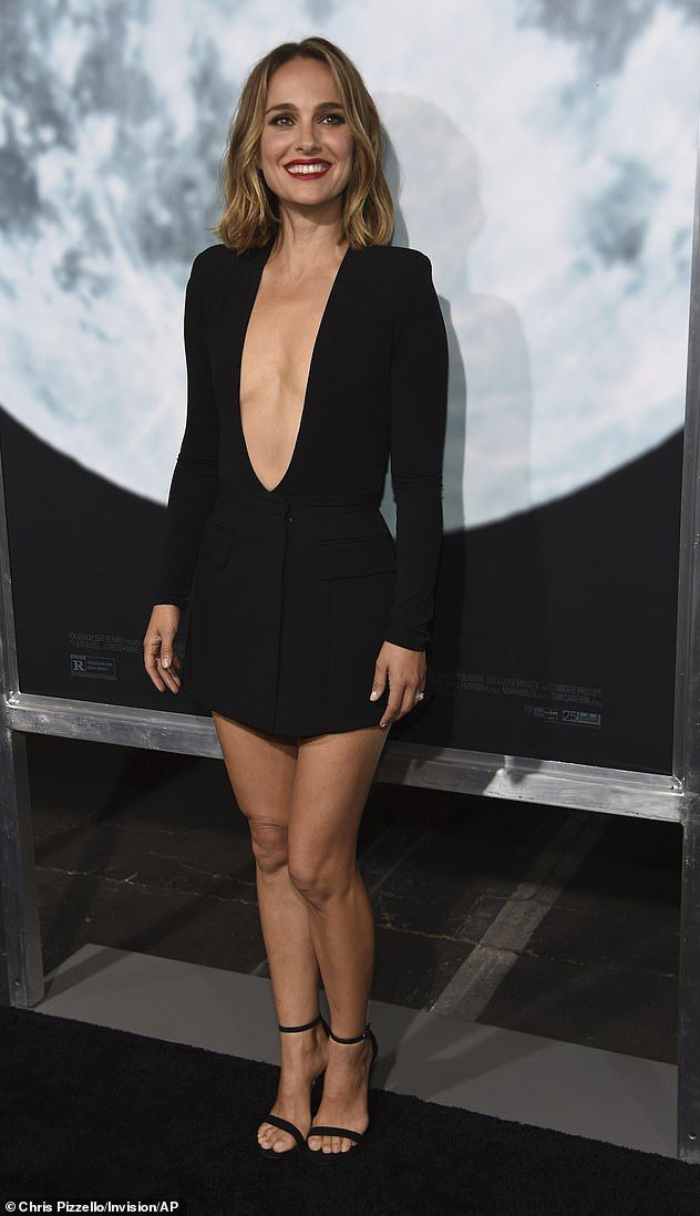 Natalie Portman With Taped-Up Feet in Plunging Bodysuit