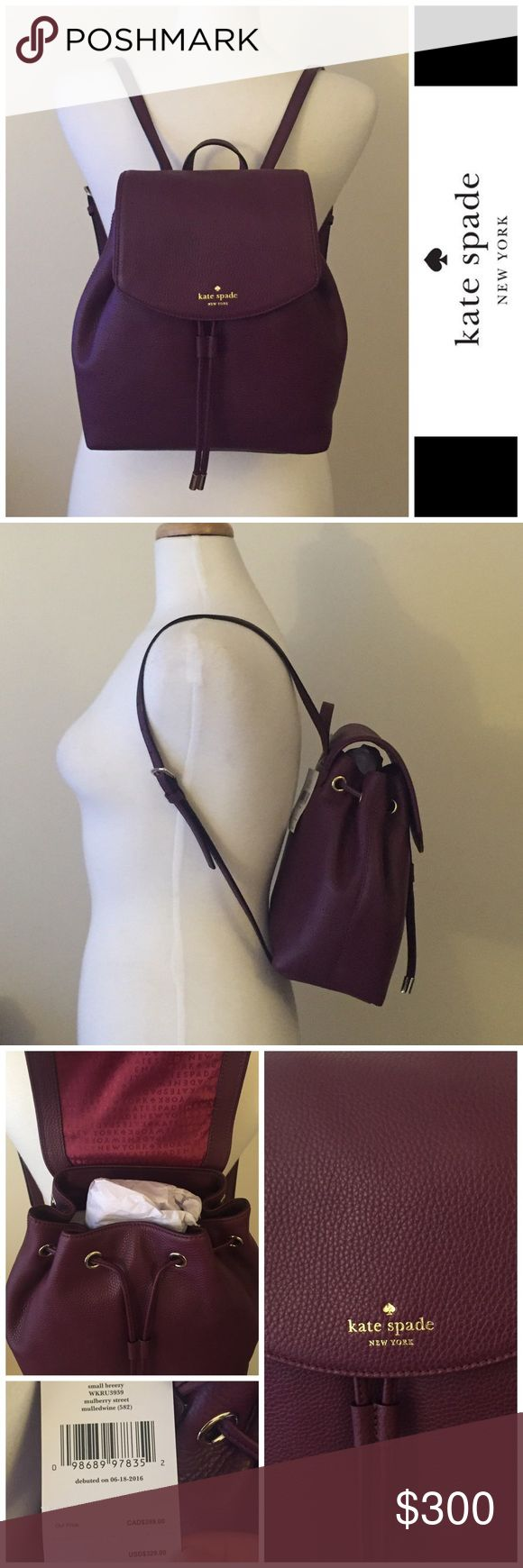 ⚡️FINAL DAY⚡️NWT Kate Spade Small backpack NWT Kate Spade Small backpack - deep purple. Strings to close in the front. Top flap close down but no front button. Super cute :) PRICE FIRM. ⚡️FINAL DAY⚡️ kate spade Bags Backpacks
