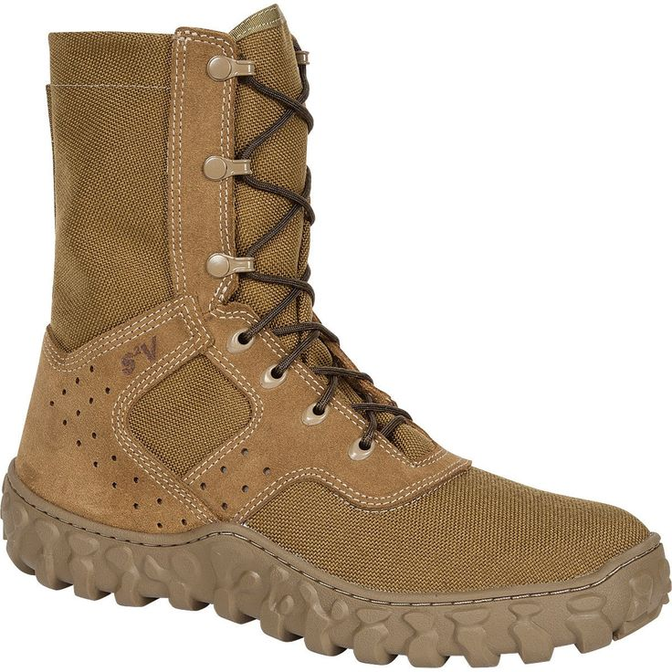 Rocky S2V Mens Coyote Brown Leather Berry Compliant Dry Jungle Boots