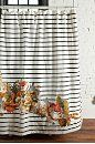 Striped Cabbage Rose Shower CurtainShower Curtains, Rose Shower